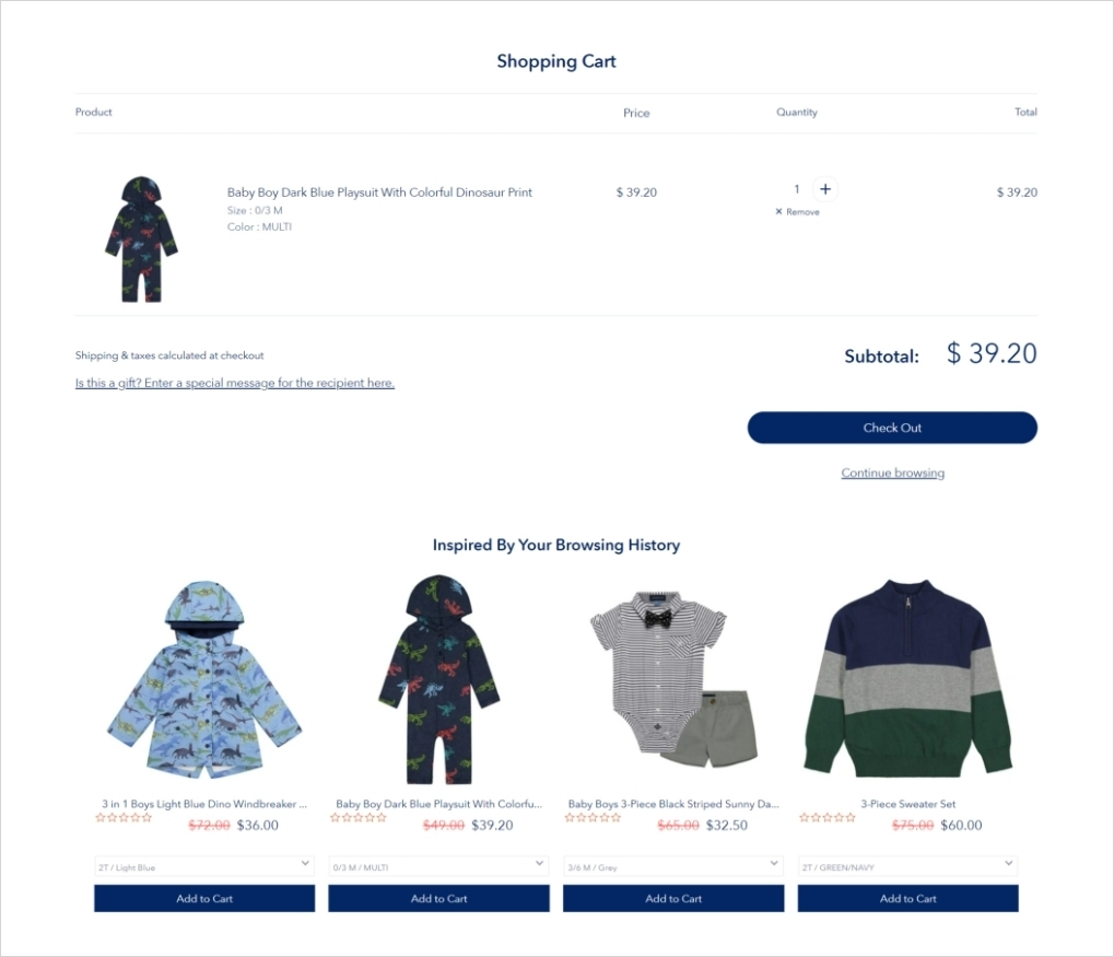 shopify cart upsell - wiser product recommendations