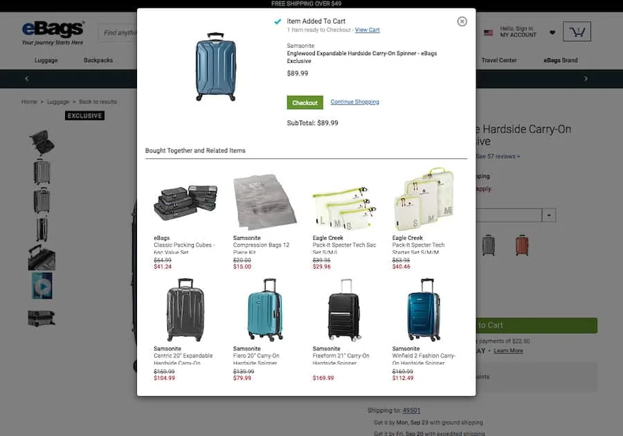 product recommendations on popup - shopify cart upsell